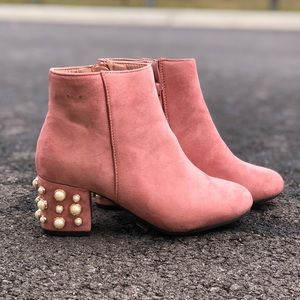 Pale pink pearl ankle boots